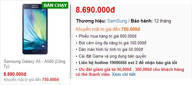 Giá bán Galaxy A5 tại Techone.vn