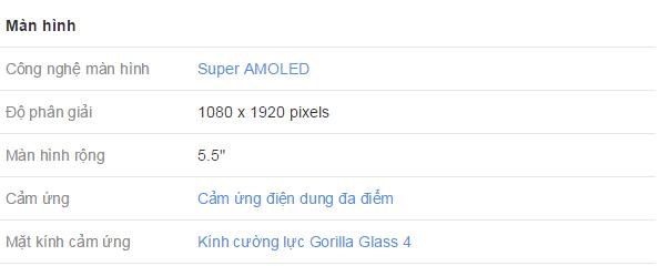 Thông số màn hình của Samsung Galaxy A7
